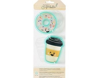 Coffee and Donut Cookie Cutters, Sweet Sugarbelle Cookie Cutters, Donut Cookie Cutter, Travel Coffee Mug Cookie Cutter, Food Cookie Cutters