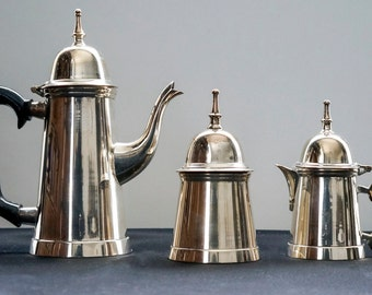 Vintage Turkish Style Silver Plated 3 pieces Coffee Set