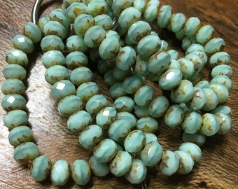 Striped Light Mint Green with Picasso Finish Czech Pressed Glass Large Faceted Rondelles 6mm x 8mm 25 beads 1053