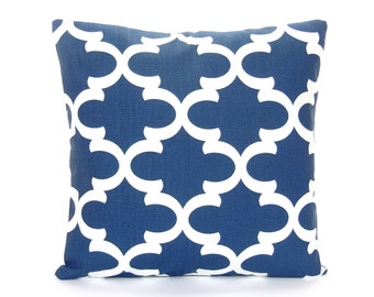 Navy Blue White Moroccan Throw Pillow COVER Couch Cushion Sofa Pillow All SIZES Nursery Pillow Bedding Euro Sham Geometric Cushion Navy