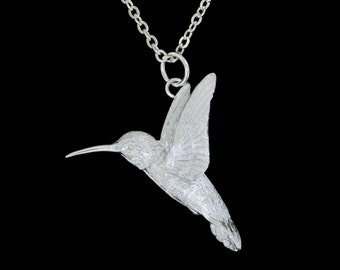 Small Sterling Silver Hummingbird Pendant or Necklace (Optional Chain)