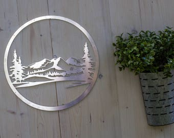 Mountain Scene Metal Decor