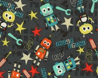 Kids fabric, patchwork fabric, fabric Miller printed robots bot boy