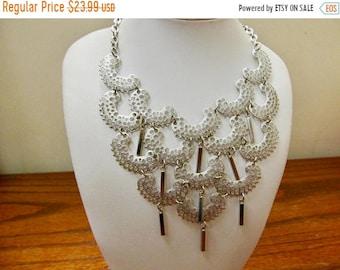 "On Sale SARAH COVENTRY ""Charisma"" Silver Tone Ornate Dangle Bib Necklace Item K # 1866"