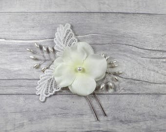 Bridal Pearl Hairpin, Bridal Flower Hairpin, Bridal Hair Accessory, Wedding Hairpin, Hair Clip, Bridesmaid Hairpin, Bridal Lace - Harper