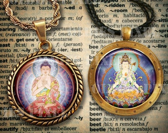 24 Buddhism Avalokiteśvara Collection Digital Collage Sheet 1.5 inch & 1 inch Circle images Instant Download for Glass Pendants Oe15