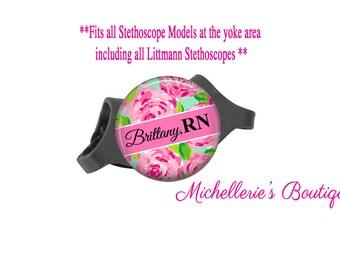 3M Littmann Stethoscope ID tag, Monogram Stethoscope Id Tag, Personalized Stethoscope Id tag, Stethoscope Name Tag, Preppy Floral,MB367