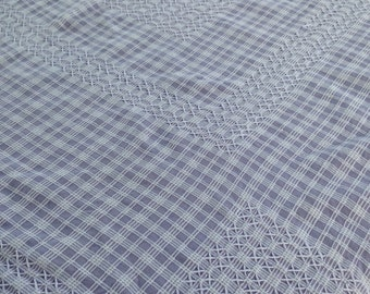 Vintage tablecloth / mauve /white cross stitch / hand embroidered/ cotton / ric rac edge