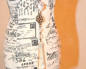 Chandelier Crystal Necklace, Vintage Cut Glass Assemblage Pendant, Gift for Her.