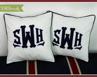 SET OF 2 - The Georgia Applique Monogram Pillow Cover - 16 x 16 square