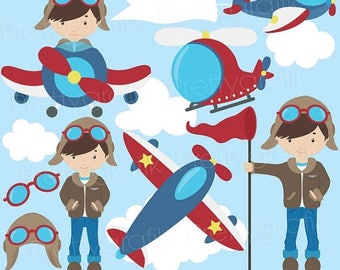 80% OFF SALE airplane pilot clipart commercial use, vector graphics, digital clip art, digital images  - CL526