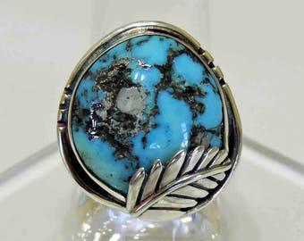 Kingman Arizona Turquoise Sterling Silver Ring Size 7 1/2