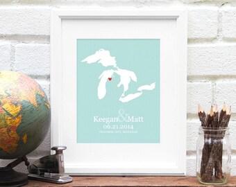 Great Lakes Wedding Gift, Personalized Lake Art Map, Personalized Family Lake Art, One Year Paper Gift, Lake Bride - Art Print