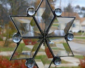 Beveled Glass Snowflake Suncatcher