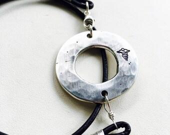 Medical Alert Bracelet, Medical ID Bracelet, Leather Wrap Bracelet, Circle Charm Bracelet, Personalized Bracelet, Silver Circle Bracelet