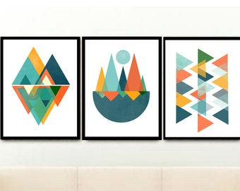 Mid Century Modern, Triptych, Scandinavian Prints, Geometric Art, Printable Art, Abstract Art, Set of 3 Prints, Digital download, Wall Decor