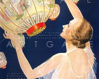 Stunning Art Deco Flapper Lady Lighting Lanterns 1920's Art Print Vintage Illustration Digital Flapper Download