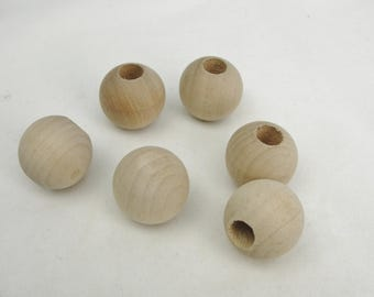 "Wooden end cap ball 1""  end cap 3/8"" hole set of 6"