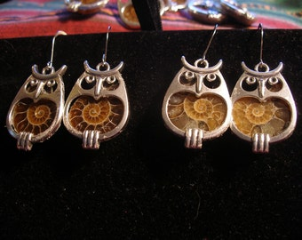 FiNALLY SiLVER Ammonite Owl Earrings  Harry Potter, Winnie the Pooh, Pogo  SRAJD, WWWG, paganteam, OlympiaEtsy, FunkyAlternativeJewelry