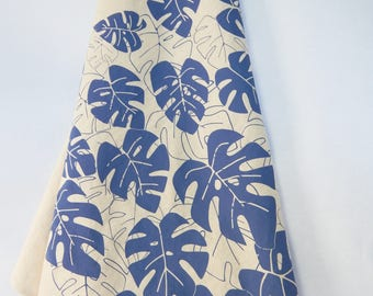 Kitchen Towel, Hand Printed, Monstera, Periwinkle or Moss, Natural Cotton