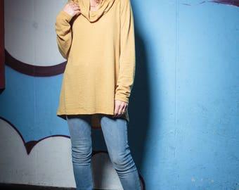 A Mustard sweater, Winter sweater, Women's sweater, Cowlneck sweater, Casual sweater, Women's oversized sweater, Cozy sweater, Loose sweater