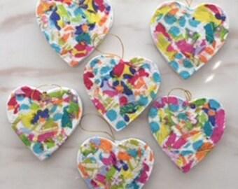 Hand-decoupaged heart ornaments