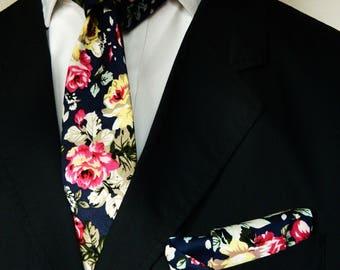 Dark navy floral tie pocket square wedding tie skinny floral navy tie pocket square groomsmen uk