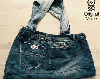 Upcycled Denim jeans Bag; Jeans Tasche
