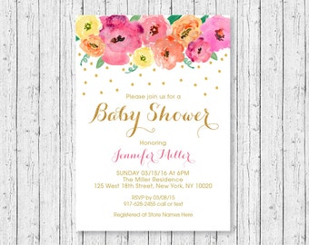Floral Baby Shower Invitation / Floral Baby Shower Invite / Watercolor Floral / Gold Floral / Confetti / Baby Girl Shower / PRINTABLE A270