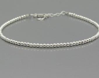 Silver Minimal Bracelet Modern Everyday, Sterling Silver Friendship Bracelet, Beaded Bracelet, Miss Ceces Jewels Hawaiian Jewelry