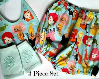 Mermaids - Three Piece Set - Diaper pants - Bib - Knit Knee grip Leg Warmers - Ready to Ship