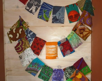 African Fabrics, Bunting Flags, 12 foot