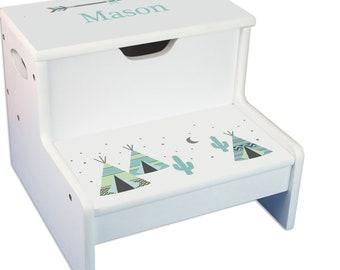 Personalized TeePee aqua mint Childrens Step And Storage Stool