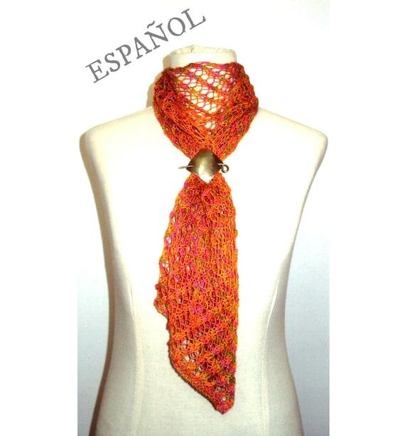PATRÓN de bufanda tejida tipo lace - Patrón de bufanda motivo ...