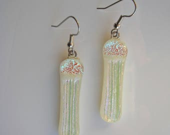 Ivory White Dichroic Fused Glass Dangle Earrings Dichroic Glass Drop Earrings Dichroic Jewelry Fused Glass Jewelry