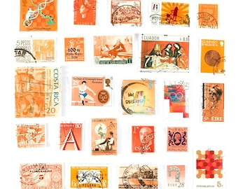 25 x orange, used postage stamps from 19 different countries, all off paper for collage, stamp collecting, crafting and scrapbooking