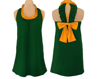 Green + Bright Gold Back Bow Dress