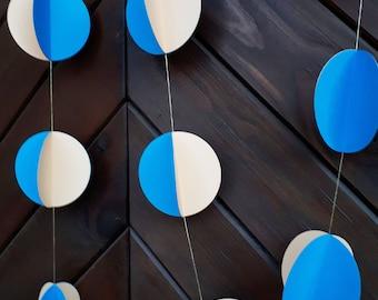 "Blue with creamy 3"" circle garland, paper garland, Wedding decor, Party decor, Paper string decor"