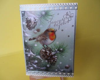 Card 3D (embossed) Robin on a silver branch stickers