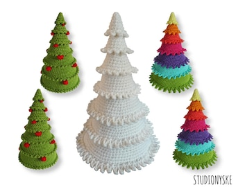Crochet Christmas tree, 3 different holiday amigurumi PATTERNS, large and small decoration