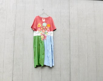Summer Dress, Upcycled Clothing, Up-Cycled, Flower Collage, Recycled, Reclaimed, Repurposed, Sustainable, Tunic, Spring, CreoleSha