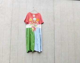 Sommerkleid, Upcycled Kleidung, hochmoderne, Blume, Collage, Recycling, Altholz, umfunktionierten, nachhaltige, Tunika, Frühling, CreoleSha