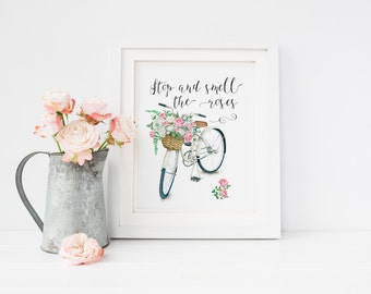Stop and smell the roses print Bicycle watercolor wall Art floral print country chic print home decor art bicycle art bicycle printable art