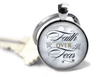 Faith over fear - Faith key chain - Christian key chain - Christian gifts - MOPS gift - Black and gold - Church gifts - church staff
