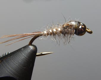 Three (3) Gold Ribbed Hares Ear Flies,w/ tungsten weight,size 12-16 (Brown,Black), for fly fishing