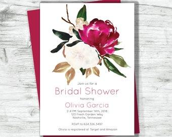 Bridal Shower Invitation Merlot Cream Magnolia Floral Digital Printable