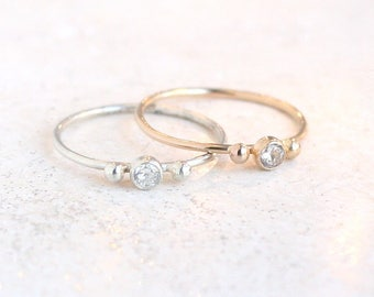 engagement ring. cz diamond. birthstone ring. ONE minimalist delicate stackable ring. mothers ring. 14k gold filled. or sterling silver.