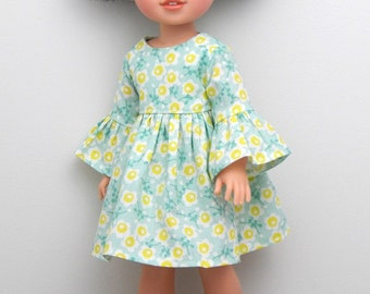14.5 inch Doll Clothes-Forest Whisper Collection-Green and Yellow Floral Bell Sleeve Dress