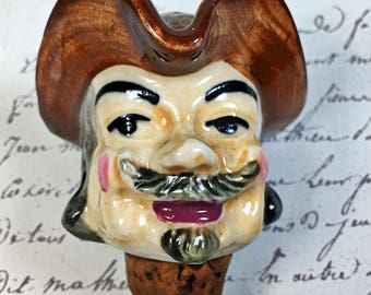 Ceramic head bottle liquor stopper cork colonial man hat vintage wine bourbon bar ware barware
