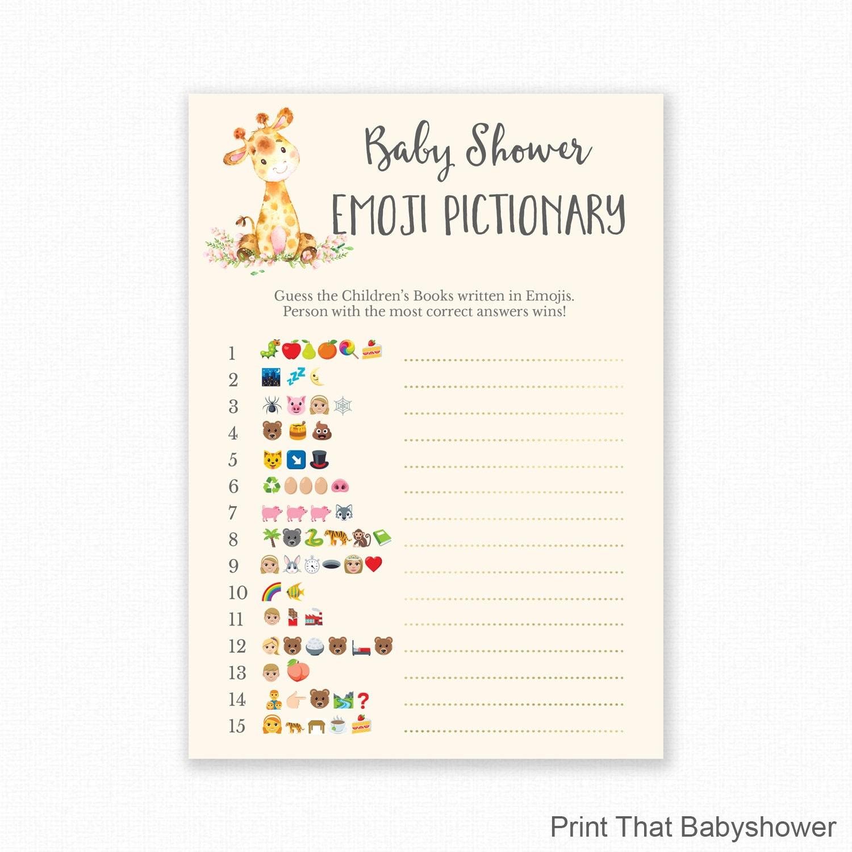 Baby Shower Game Giraffe Baby Shower Emoji Pictionary